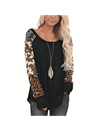 Women Casual Loose T Shirts Leopard Print Patchwork Color Block Crewneck Long Sleeve Pullover Tops Shirts