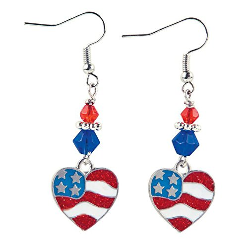 4th of July Patriotic Red White & Blue Flag Heart Dangle Earrings Jewelry