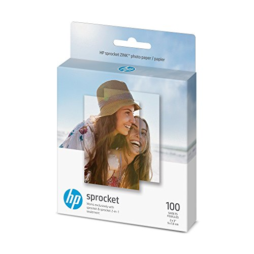 HP Sprocket Photo Paper, exclusively for Sprocket or Sprocket 2-in-1 Printer, (2x3-inch), sticky-backed 100 sheets (1DE40A)