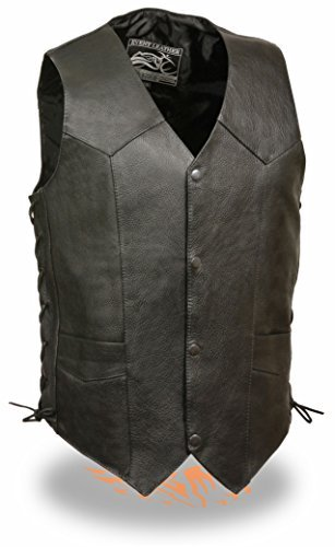 Exchange Leather Vest - Mens Side Lace Black Cowhide Leather Vest (4XL)