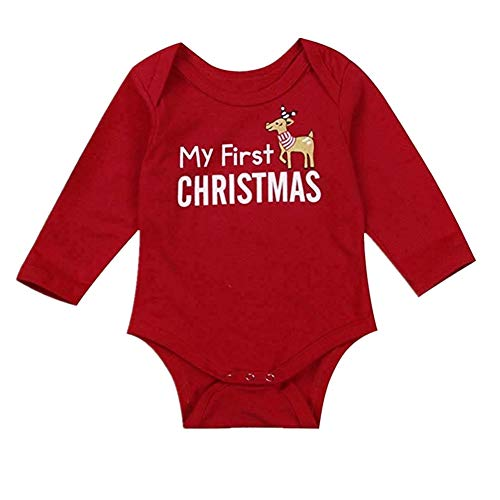 Eyiou Baby Girl Boy Christmas Outfits My First Christmas Printed Long Sleeve Bodysuit Romper Cotton Jumpsuit (6-12 -