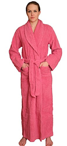 (NDK New York Women's Chenille Full Length Cotton Robe, Fuchsia, 2X-3X Plus )
