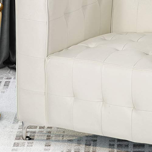 Laura Modern Glam Leather Cube Club Chair, White and Chrome - 5