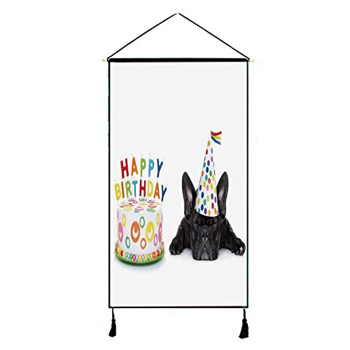 C COABALLA Birthday Decorations for Kids Stylish Hanging Poster,Sleepy French Bulldog Party Cake with Candles Cone Hat Image for Living Room Bedroom,17.7