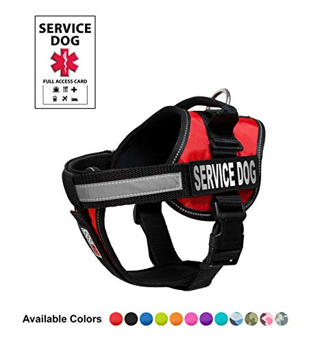 Dogline Unimax Service Dog Vest and Free Service Dog ID Badge with ADA Law, Small, Red from Dogline