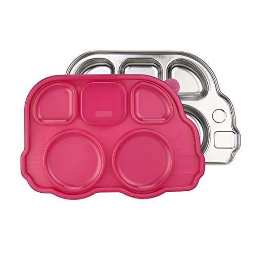 Kids Shaped Plastic Plate (Innobaby Din Din Smart Stainless Divided Platter with Sectional Lid, Stainless Steel Divided Plate for Babies, Toddlers and Kids, BPA free plate)