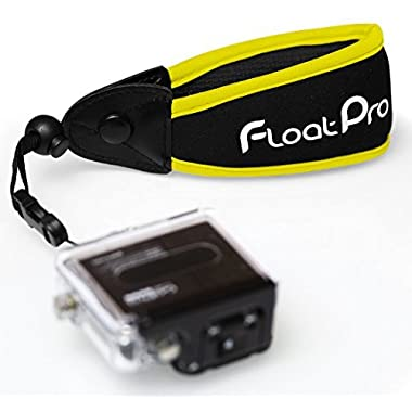 FloatPro Floating Wrist Strap For GoPro & Waterproof Camera (Yellow). #1 Must-Have Float Accessories. 1-Year Warranty.