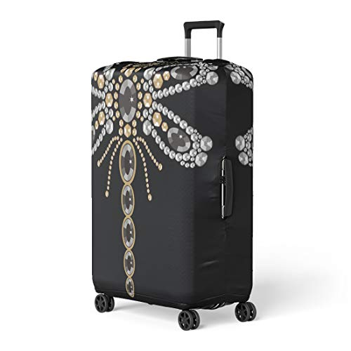 (Pinbeam Luggage Cover Beautiful Pattern of Flying Dragonfly Shiny Gold Silver Travel Suitcase Cover Protector Baggage Case Fits 18-22 inches)