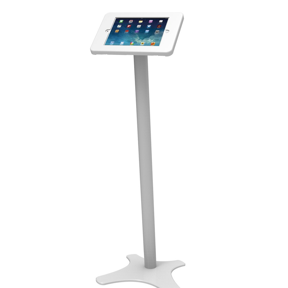 Beelta iPad Floor Stand Kiosk 360 Swivel for iPad Pro 9.7,Air 1,Air 2,iPad 5th/6th,Anti-Theft,Key Lock,Metal,White,BSF301W