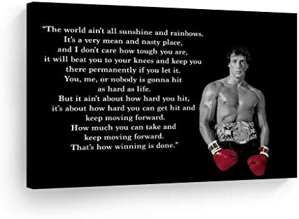 Smile Art Design Rocky Balboa Wall Art Canvas Print Motivational Quote Hope Artwork Boxing Sylvester Stallone Living Room Home Decoration Ready to Hang
