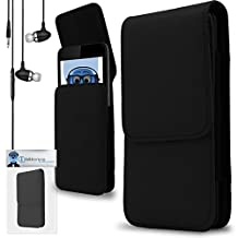 iTALKonline Microsoft Lumia 640 Black PREMIUM PU Leather Vertical Executive Side Pouch Case Cover Holster with Belt Loop Clip and Magnetic Closure Includes Black Premium 3.5mm Aluminium High Quality In Ear Stereo Wired Headset Hands Free Headphones with Built in Mic Microphone and On Off Button