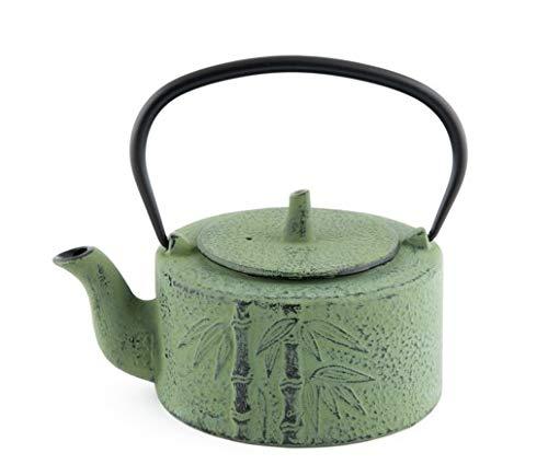 Tetsubin Green Cast Iron Teapot - Hinomaru Collection Artisan Workshop Japanese Tetsubin Green Bamboo Cast Iron Teapot 24 oz with Stainless Steel Infuser