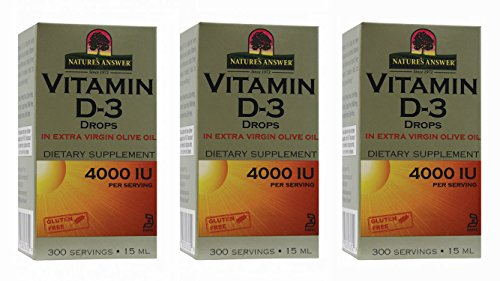 Nature's Answer Vitamin D-3 Drops 4000 LU, 0.5-Ounce, 3 count