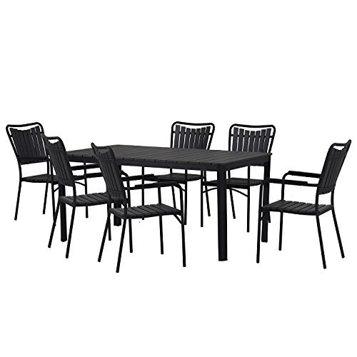 - Oakland Living AZ932-715(6)-BK Modern Outdoor Dining Set, Black