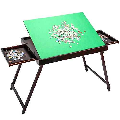 Wooden Jigsaw Puzzle Table for Adults & Kids,Portable Folding Tilting Table for Puzzle Games with Storage & Drawers,Multifunction Home Furniture,1500 pcs