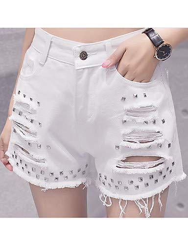 YFLTZ para Active Shorts Sólido Pantalones Color Mujer Jeans Black rS4CErwHq