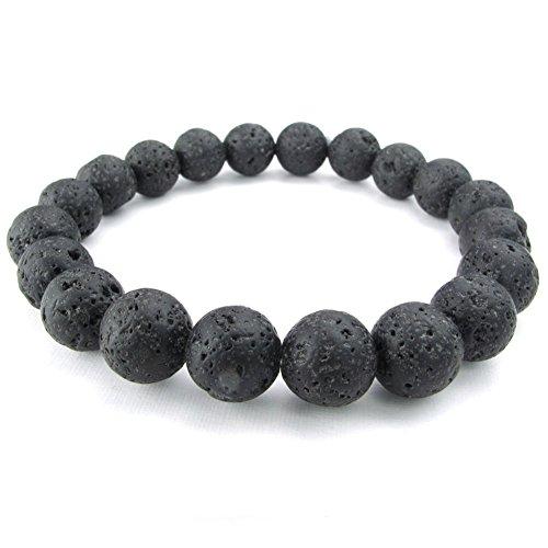 Line Round Glass Bead (TEMEGO Jewelry Mens Womens 10mm Link Wrist Bracelet, Energy Stone Lava Rock Black Buddha Mala Bead Bracelet,)