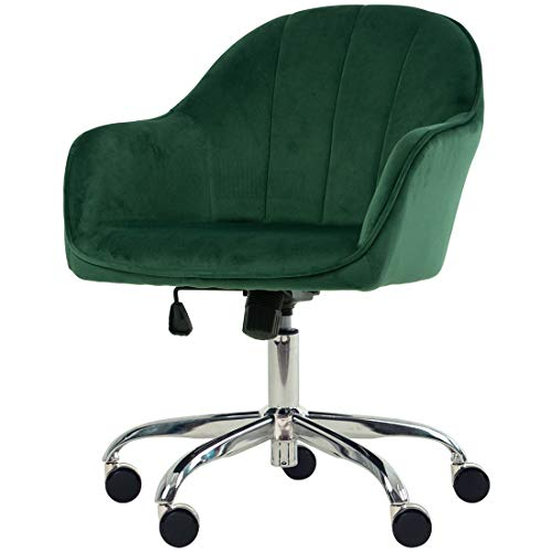Golden Beach 360 Degree Swivel Home Office Chair Plush Velvet Desk Chair Reception Chair with Height Adjustment (Green)