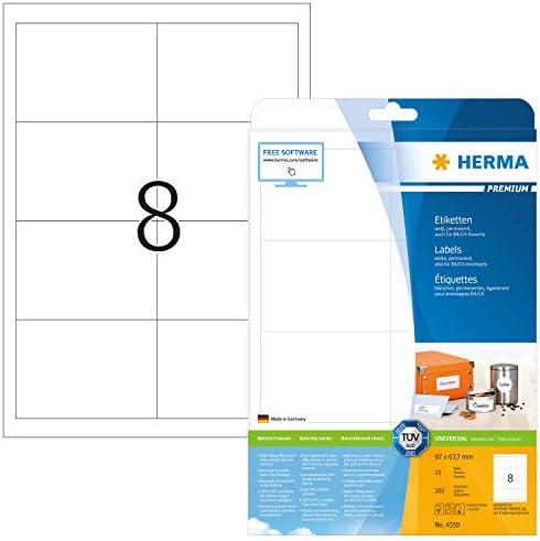 HERMA 4359 Universal Etiketten DIN A4 groß (97 x 67,7 mm, 25 Blatt, Papier, matt) selbstklebend, bedruckbar, permanent haftende Adressaufkleber, 200 Klebeetiketten, weiß