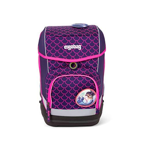 Ergobag cubo PerlentauchBär, Lumi Edition, ergonomischer Schulrucksack, Set 5-teilig, 19 Liter, 1.100 g, Pinke Wellen