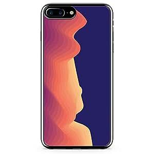 iPhone 8 Plus Transparent Edge Phone case Waves Phone Case Minimalist Waves Phone Case Purple And Orange iPhone 8 Plus Cover with Transparent Frame
