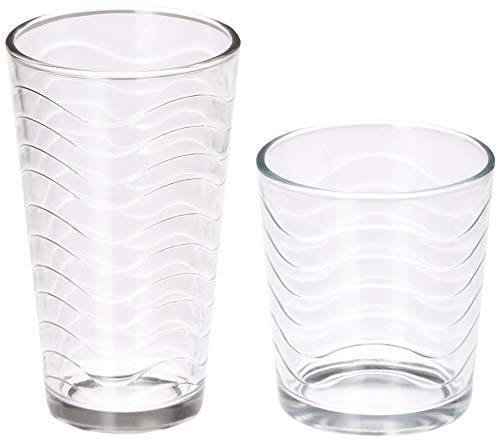 Circleware 40139 Pulse Huge 16-Piece Glassware Set of Highball Tumbler Drinking Glasses and Whiskey Cups 8-15.75 oz & 8-12.5 oz for Water, Beer, Juice Ice Tea Beverages, 16pc, Clear