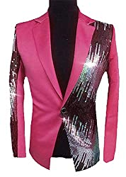 Men's Sequins Sparkly Blazer L Rose Red