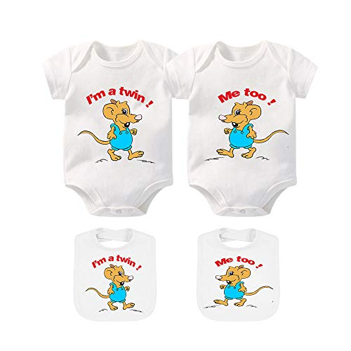 YSCULBUTOL Twin Bodysuit 2 Pack Baby Girls & Boys Perfect Fun Shower Gift Newborn Twins Outfit
