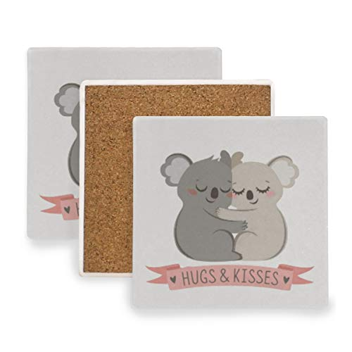 (Large Square Drink Coasters,Cartoon Koala Hugging Ceramic Thirsty Stone With Cork Back Cup mats Protect Your Furniture From Spills,Scratches,Water Rings and Damage 4pcs)