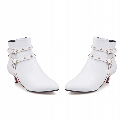 Stylish Carolbar Boots Rivets Buckle Zip Mid Heel Short White Women's Chic AwH7wnxqEZ