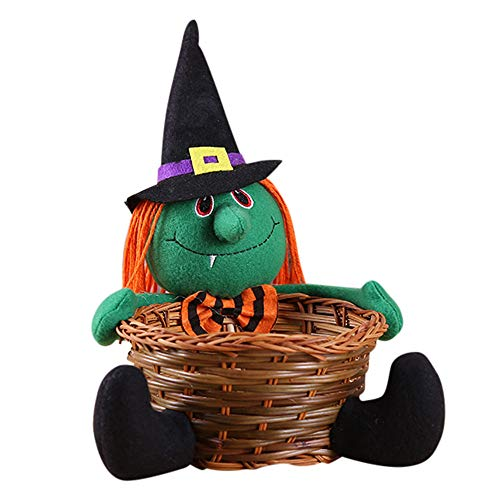 DZT1968  Doll Fruit Decoration Bowl Halloween Ghost Candy Basket Home Decor Hand-Woven Gift Packages Childrens Teens (Green)