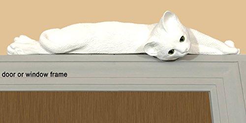 decorative white cat silhouette door topper figurine green - Green Eye Cat