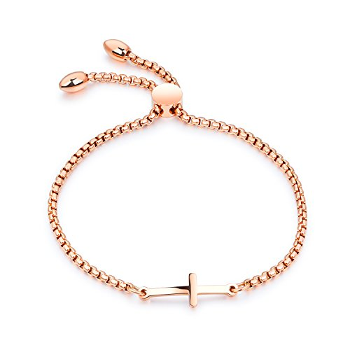 (Cocazyw 14K Gold Plated Cross Adjustable Religious Sideways Bracelet for Women Girls,Gold Cross Bracelet Stainless Steel for Men (Rose Gold))
