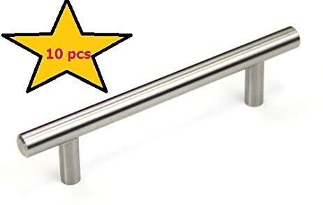 brushed nickel bar handle drawer pull 6 inches 10 pack hardware euro style solid metal