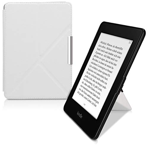 - kwmobile Origami Case for Amazon Kindle Paperwhite - Ultra Slim Fit Premium PU Leather Cover with Stand - (for 2017 and Older) White