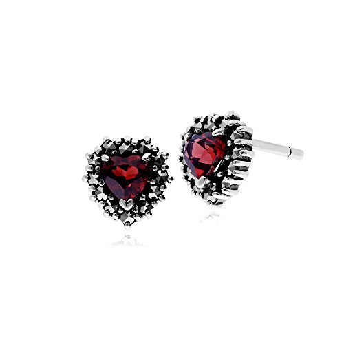 Gemondo Garnet Earring, Sterling Silver Garnet & Marcasite Heart Stud (Sterling Silver Garnet Marcasite Earrings)