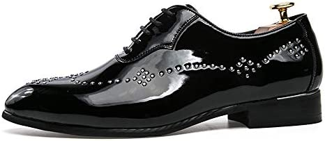 MUMUWU Mens Fashion Oxford Casual Personality Rivet Lace Up Outsole Patent Leather Formal Shoes