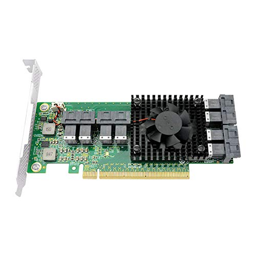 DiLiVing Eight Ports PCIe x16 NVMe U.2 SSD Switvh Adapter Integrated PLX high Performance PCIe Switch chip SFF-8639 SFF-8643
