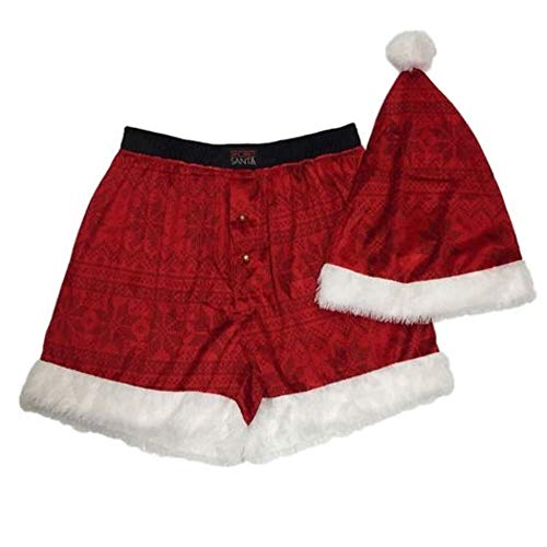Secret Santa Men's Santa Boxer with HAT, red Large ()