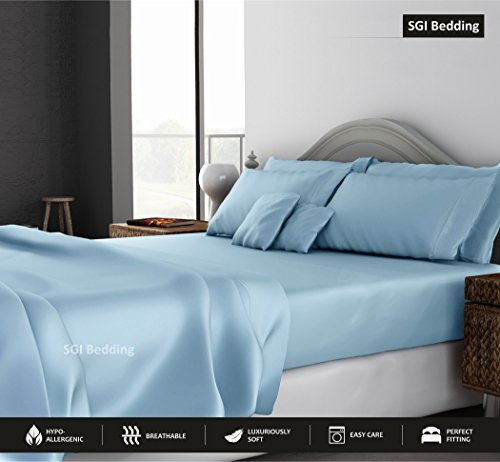 - RV King Sheets Luxury Soft 100% Egyptian Cotton -Classic Collection Bed Sheet Set for RV King 72x80 Mattress Light Blue Solid 600 Thread Count Deep Pocket