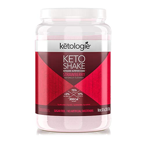 Ketologie Ultra Low Carb Protein Shake, High-Fat Keto Meal Replacement (Strawberry)