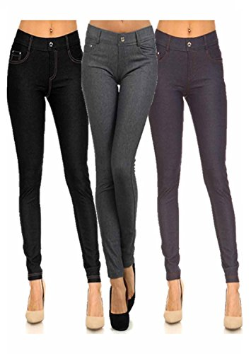 0683b28eb7085 Yelete Womens Pull On Cotton Blend Color Jeggings (Large/X-Large, Black
