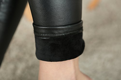 40285c73a930fc IRELIA Womens Sexy Faux Leather High Waisted Brushed Leggings Long Pants  Black L(Long)