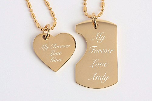 Double Heart Tag Necklace - Personalized His & Hers Gold Mini Dog Tag & Heart Necklace Set