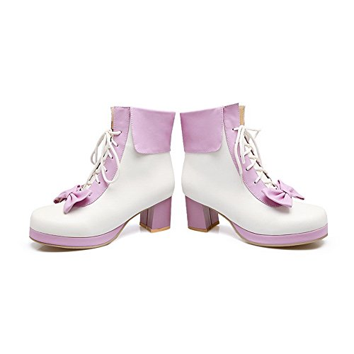 BalaMasa Womens AssortedColor Platform Fashion Urethane Boots ABL10017 Purple fnQPBYz2k