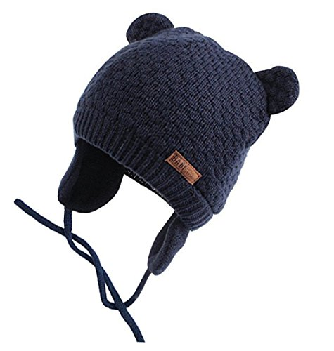 Chihom Infant Baby Boys Girls Knitted Hat with Earflaps Cute Beanie Skull Cap Warm Cuff Winter Bear Caps,03-navy,Fits for 1.5-4T