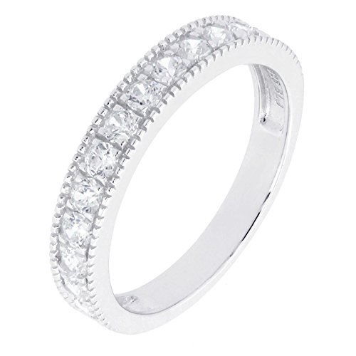 BL Jewelry Sterling Silver Created White Blue Pink Sapphire Stackable Half Eternity Band Ring (9, white-topaz)