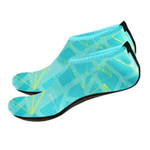 Voberry Uomini Donne Calze Da Acqua Allaperto A Piedi Nudi Scarpe Di Pelle Per Correre Dive Surf Nuotare Yoga Spiaggia Blu