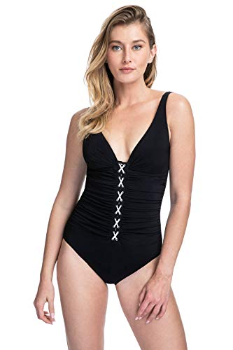 Profile by Gottex Women's Center Detail V-Neck Cup Sized One Piece Swimsuit, Mojito Black/White, 12D