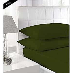 Stripe Pattern 100% Egyptian CottonUltra Soft 450 TC 3 Piece Fitted Sheet King Size with 12 Inch Deep Pocket in New Moss color